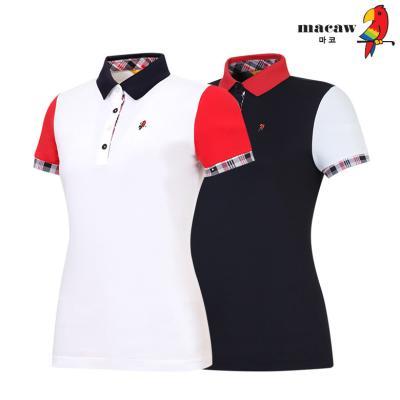 (여성)체크포인트배색카라 반팔 티셔츠_MIW2TS19