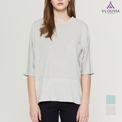 [비비올리비아] 우븐 배색 라운지웨어 티셔츠_VVCASUM5321