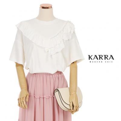 KARRA (77까지)프릴펀칭진주비즈티셔츠_KB1MTS023C