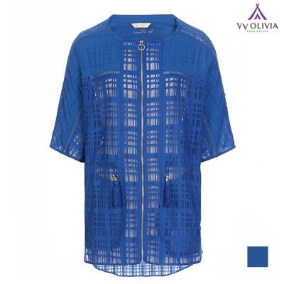 [비비올리비아] 레이스배색 블루 매쉬 점퍼_2VVCCLTM4321