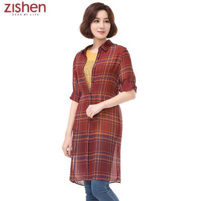 [지센]쉬폰 체크 롱 셔츠-ZJCWS528
