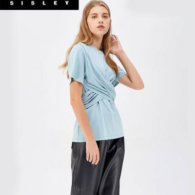 허리 매듭 면 티셔츠_SATS18941