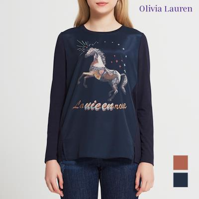 [올리비아로렌] 우븐 프린트 티셔츠_VOCALVF7431