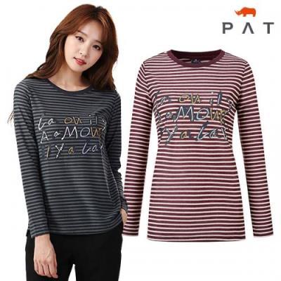 [PAT여성]스트라이프 원포인트 티셔츠_QF65301