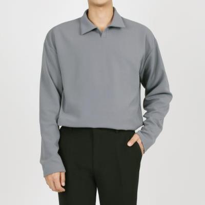남자 봄 가을 무지 베이직 오픈 카라 긴팔 티셔츠 SO-KAA-Q004-그레이