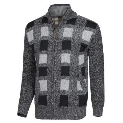 남성 겨울 캐주얼 스웨터 집업 기모 니트 점퍼 HA-KNK-Q008-차콜