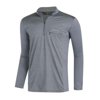 남성 봄 가을 데일리 무지 반집업넥 등산 긴팔 티셔츠 IU-MOA-226-그레이