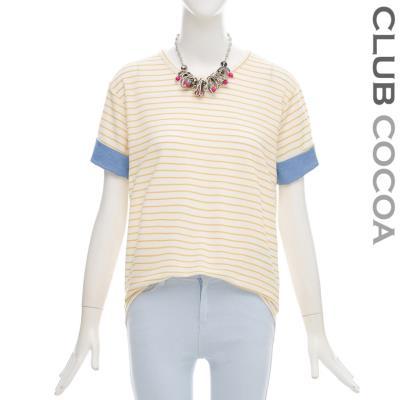 데님배색줄무늬티셔츠_CFS1TS6450