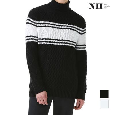 [NII] 공용 가슴블럭 터틀넥 스웨터_2NNUBTSW9591