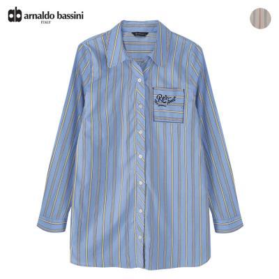 (아날도바시니) 포켓자수 스트라이프 셔츠(AS03BL41M)