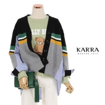 KARRA (77까지)셔츠배색가디건_KB1SCD027A
