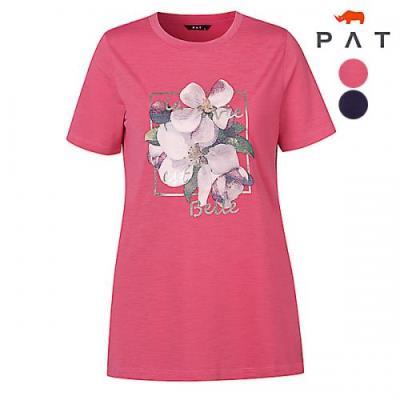 [PAT여성]라운드넥 스퀘어 플라워 티셔츠_QF45346