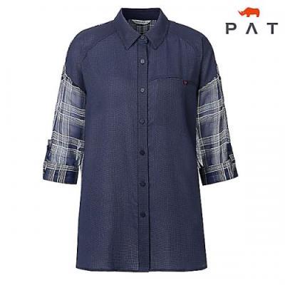 [PAT여성]수입화섬소재 체크 믹스 셔츠_QD41502