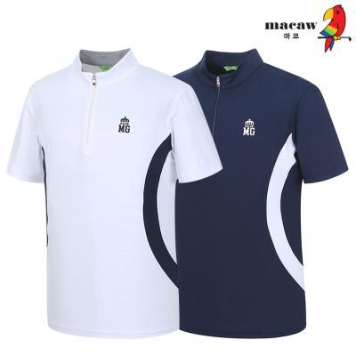(남성)사이드배색 반집업 반팔 티셔츠_MIM2TH60