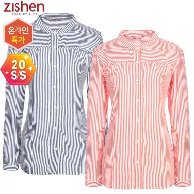 [지센] 스트라이프 밴드넥 셔츠-ZKCWS225