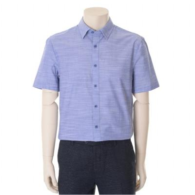 블루 내츄럴 스트레치 슬림핏 반팔 셔츠 (WST2TD37A)