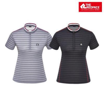 [레드페이스 본사] 여성 자카드 스트라이프 하프 우먼 짚 티셔츠 REWFTSM17050