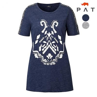 [PAT여성]멜란지 슬럽 술장식 원포인트 티셔츠_1D45313