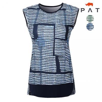 [PAT여성]네모네모 프린트 슬리브리스 티셔츠_1C45704