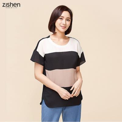 [지센] 폴리스판 컬러블럭 루즈핏 티셔츠-ZJTTS722