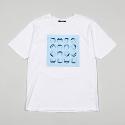 남성 블루 그래픽 라운드넥 티셔츠(HT5ST45)