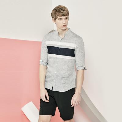 남성 크롭 슬리브 헨리넥 셔츠(HU5LS20)