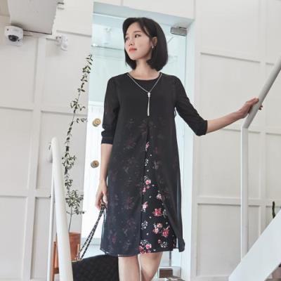 엄마옷 마담4060 제이배색원피스-QOP105001-