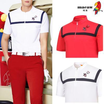 (남성)매쉬배색포인트반집업 티셔츠_MIM2TH02