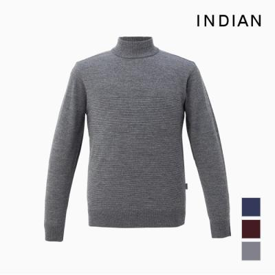 [INDIAN] 스트라이프배색 울100 하프터틀 스웨터_MITBHUF9131