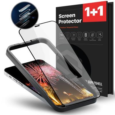 슈퍼쉘 아이폰13 프로 1+1 풀커버 강화유리 액정 필름