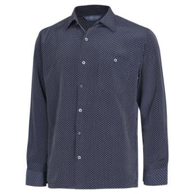 남성 봄 가을 캐주얼 패턴 카라넥 셔츠 YD-SHA-154-네이비