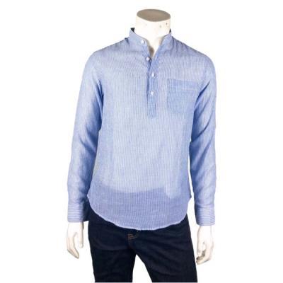 [카이아크만] 헨리넥 스트라이프 셔츠(KPBSH678M0_BL)