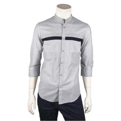 [카이아크만] 패턴 포인트 7부 소매 셔츠(KPBSH684M0_BK)